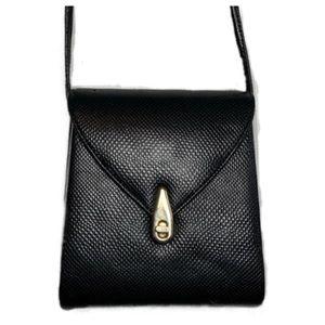 Vintage Black Textured Crossbody Bag